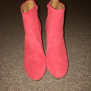 Kelsi Dagger Orange-Red zip  wedge booties